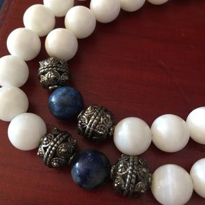 White Jade, Lapis Lazuli and Silver FULL Mala
